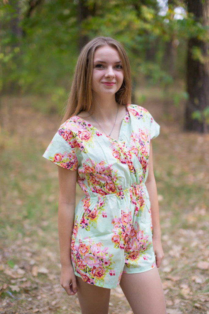 Short Sleeved Bridesmaids Rompers in Floral Posy Pattern