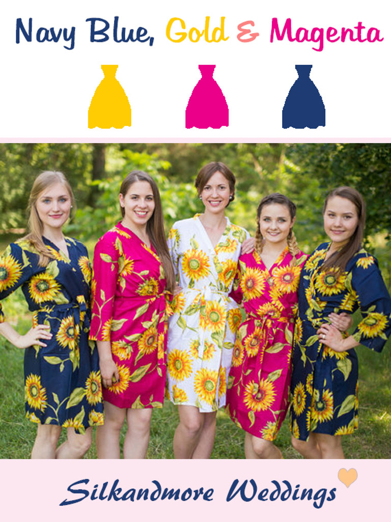 Navy Blue, Magenta and Gold Wedding Color Robes