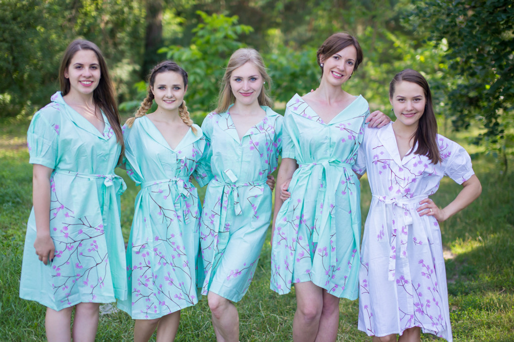 Cherry Blossom Housecoats for bridesmaids to get ready in