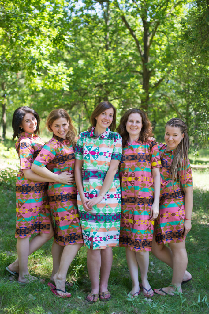 Diamond Aztec Housecoats for bridesmaids to get ready in