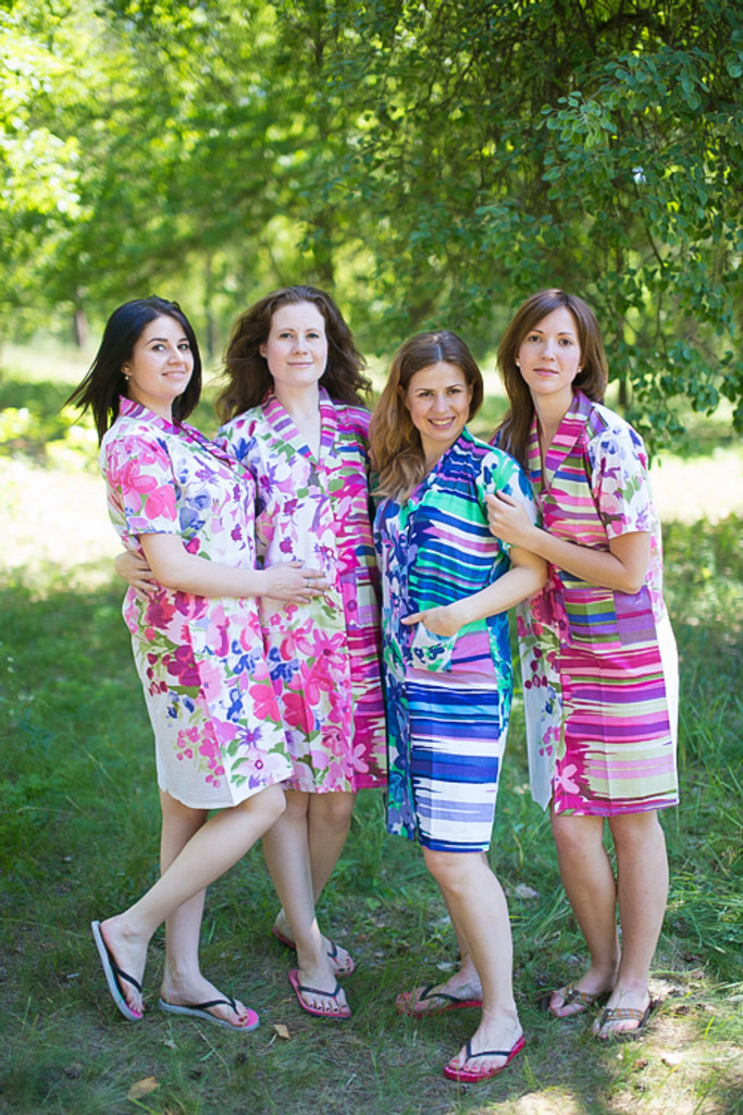 Floral Watercolor Painting Housecoats for bridesmaids to get ready in