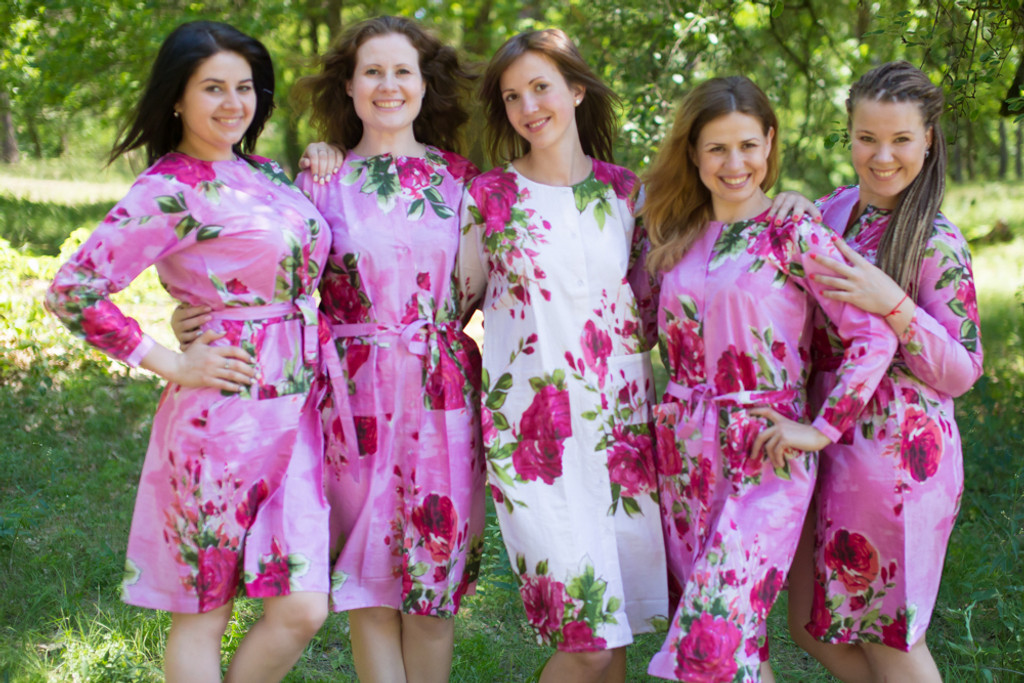 Large Fuchsia Floral Blossom Housecoats for bridesmaids to get ready in