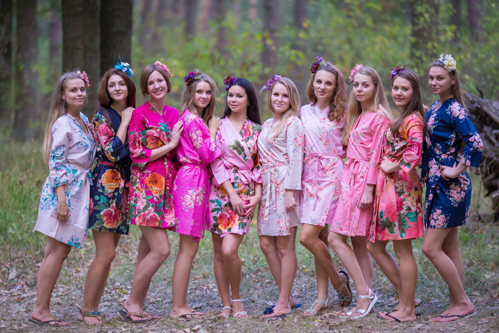 Navy Blue, Pink and Magenta Wedding Color Robes