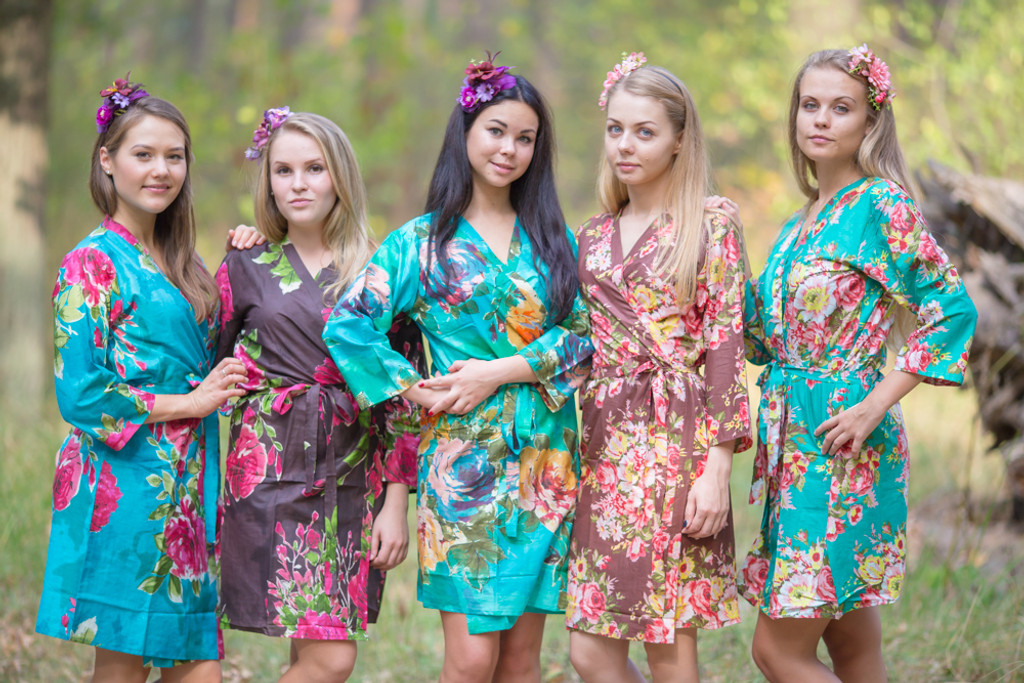 Teal and Brown Wedding Color Robes