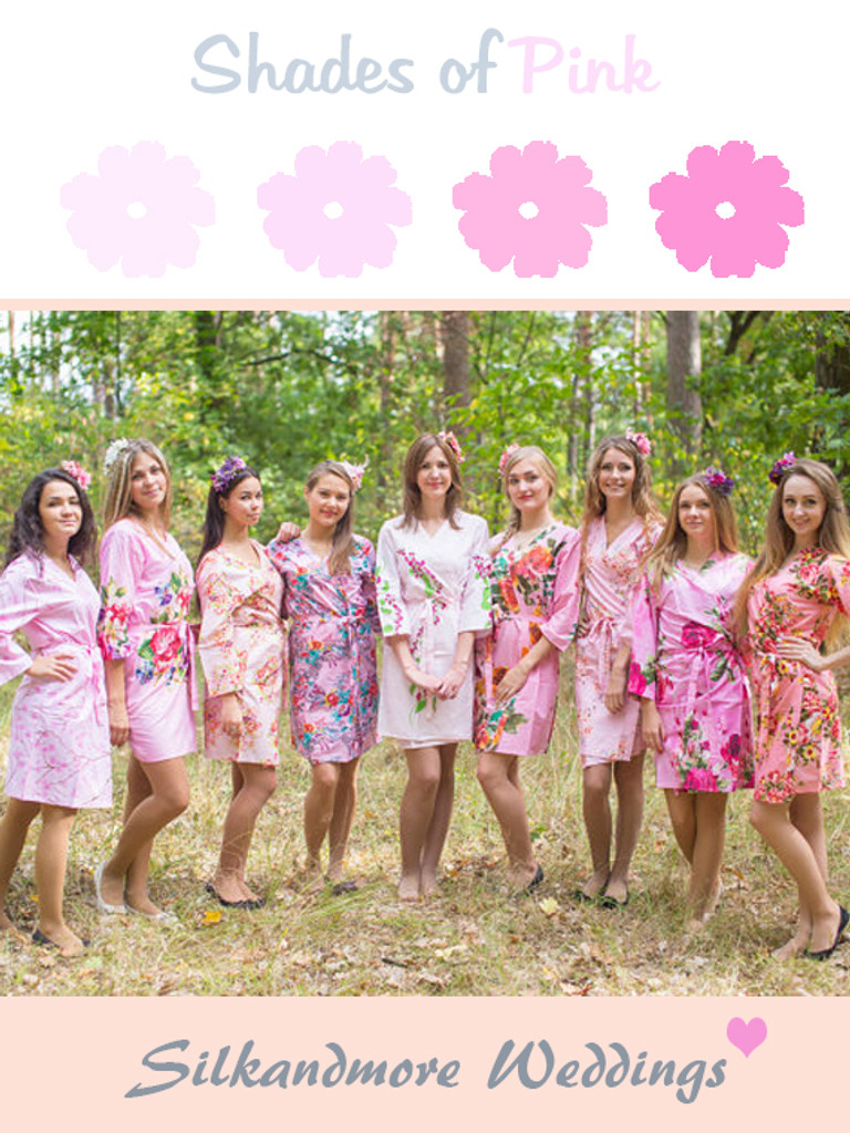 Assorted Pink Mismatched Patterns   SilkandMore Robes