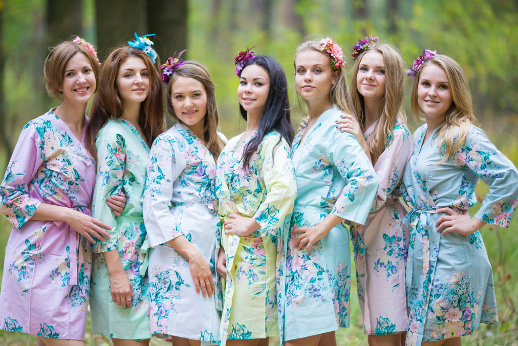 Mismatched Blooming Flowers Robes in soft tones