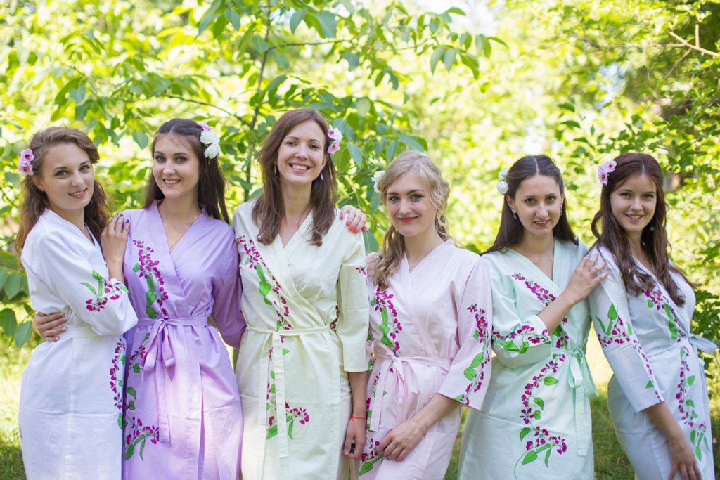 Mismatched Climbing Vines Robes in soft tones