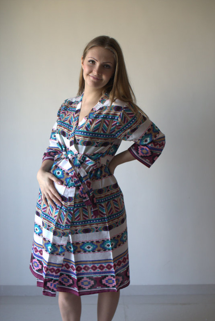 Aztec Geometric Maternity Robe