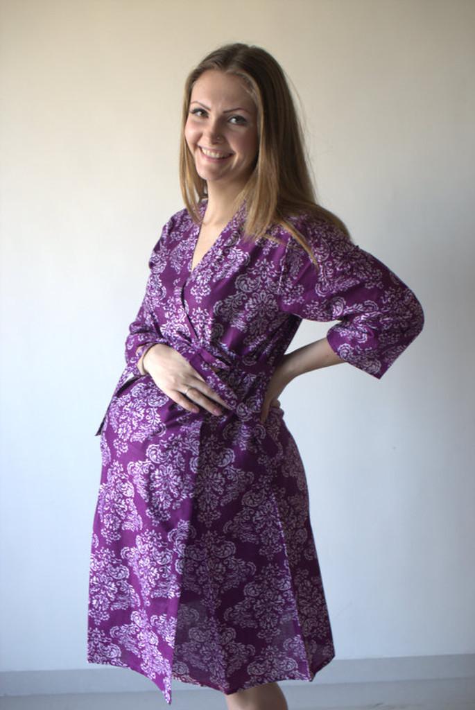 Damask Maternity Robe