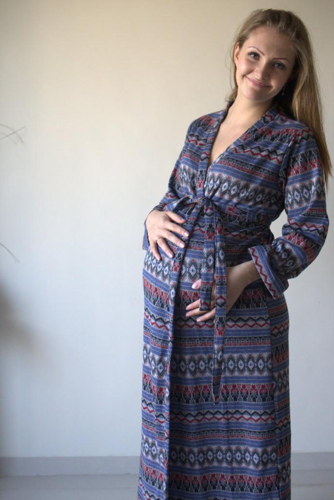 Gray Aztec Warm Winter Maternity Robe