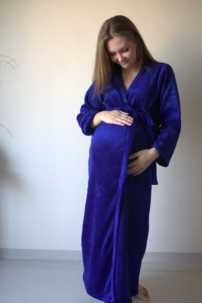 Royal Blue Warm Winter Maternity Robe