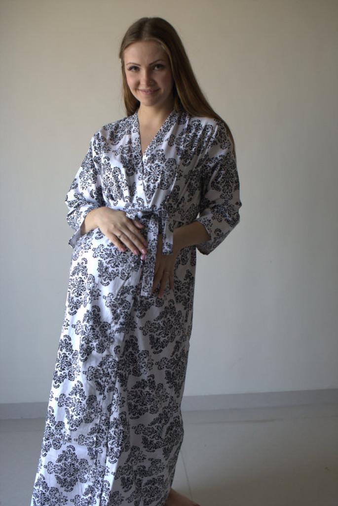 Damask Full Length Maternity Robe