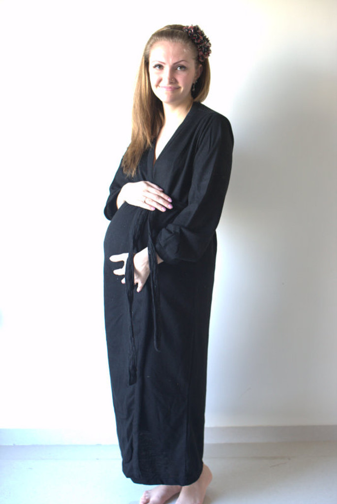 Solid Black Warm Winter Maternity Robe