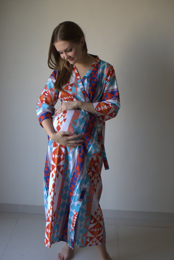 Diamond Aztec Full Length Maternity Robe