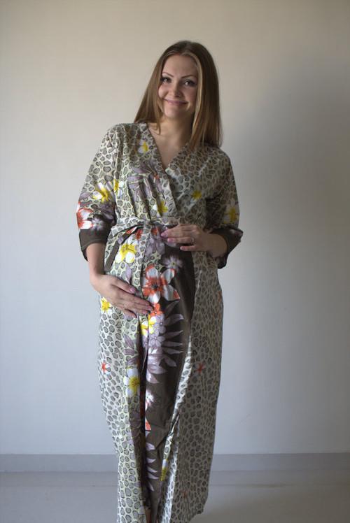 Fun Leopard Full Length Maternity Robe