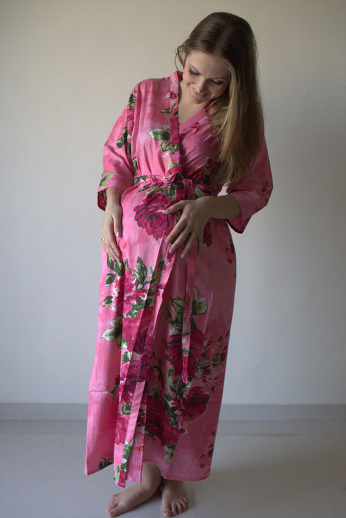 Large Fuchsia Floral Blossom Full Length Maternity Robe
