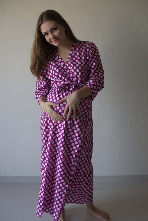 Polka Dots Full Length Maternity Robe