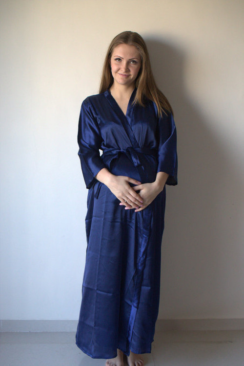 Solid Satin Silk Full Length Maternity Robe
