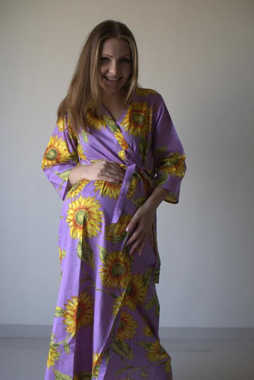 Sunflower Sweet Full Length Maternity Robe