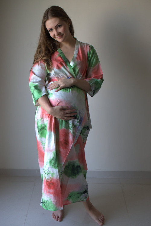 Watercolor Splash Full Length Maternity Robe