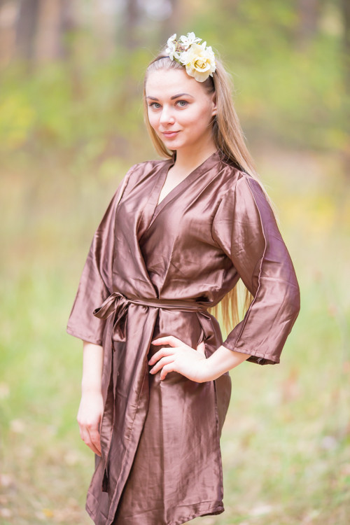 Plain Silk Robes for bridesmaids - Solid Brown Color | Getting Ready Bridal Robes
