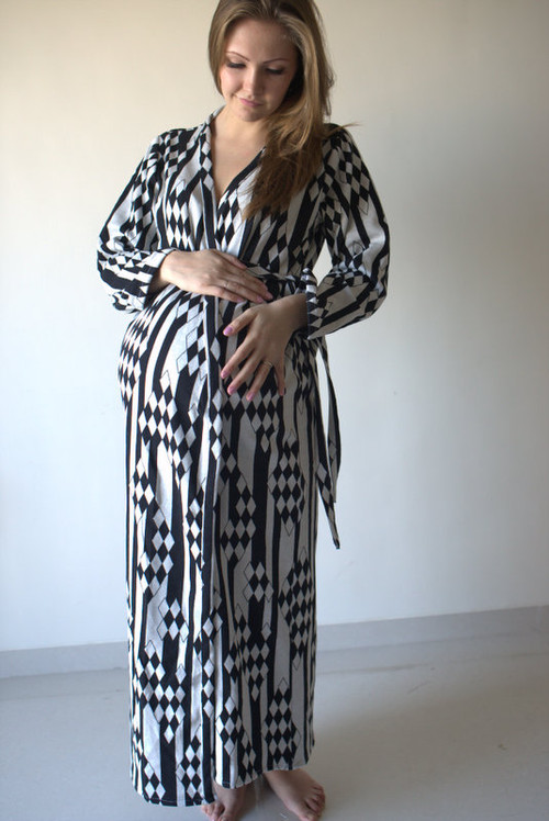 White Black Aztec Warm Winter Maternity Robe