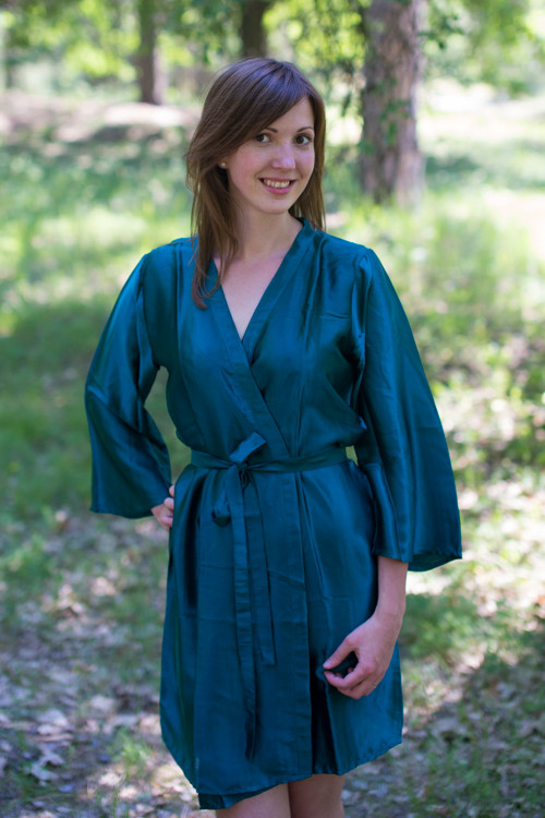 Plain Silk Robes for bridesmaids - Solid Deep Teal Color | Getting Ready Bridal Robes
