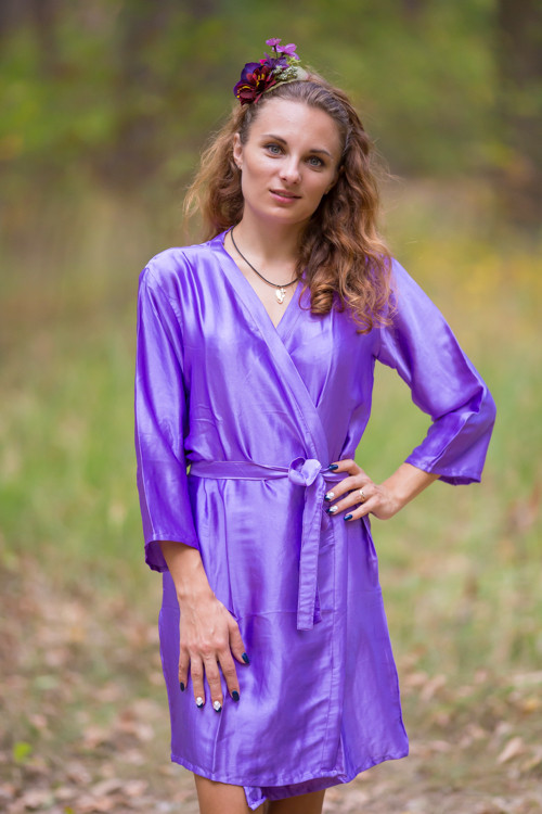 Plain Silk Robes for bridesmaids - Solid Lavender Color | Getting Ready Bridal Robes