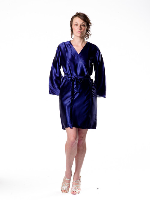 Plain Silk Robes for bridesmaids - Solid Navy Blue Color | Getting Ready Bridal Robes