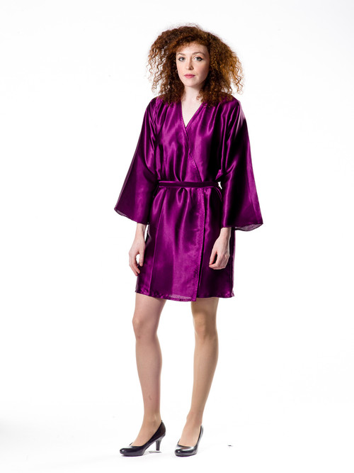 Plain Silk Robes for bridesmaids - Solid Plum Color | Getting Ready Bridal Robes