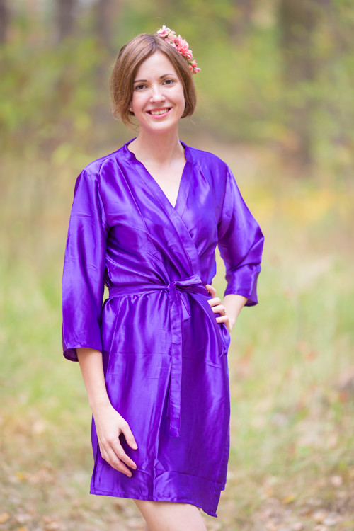 Plain Silk Robes for bridesmaids - Solid Purple Color | Getting Ready Bridal Robes