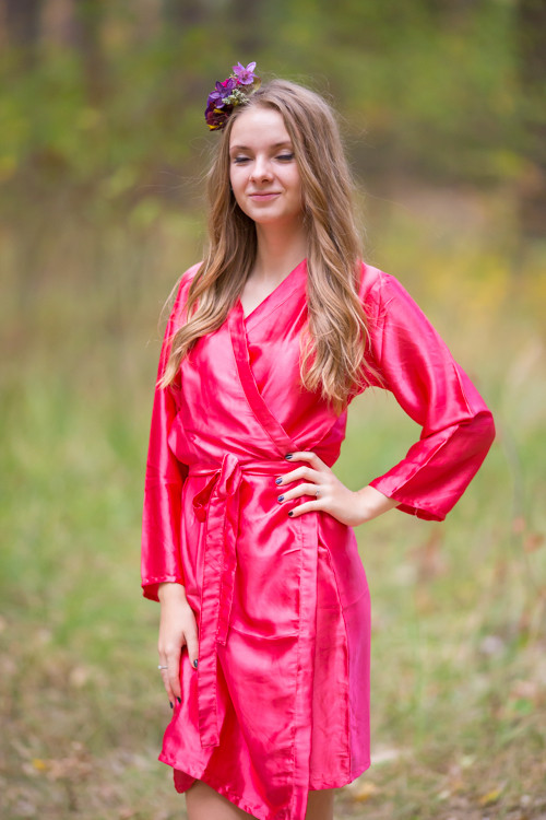 Plain Silk Robes for bridesmaids - Solid Rose Pink Color | Getting Ready Bridal Robes