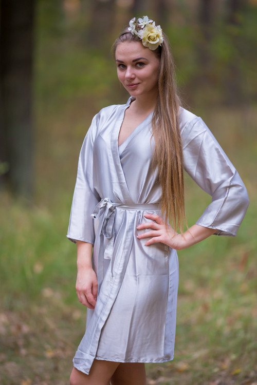 Plain Silk Robes for bridesmaids - Solid Silver Color | Getting Ready Bridal Robes