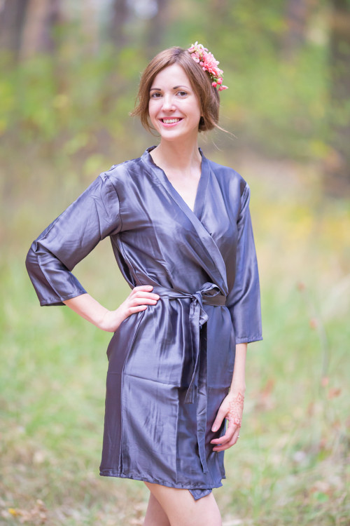 Plain Silk Robes for bridesmaids - Solid Steel Gray Color | Getting Ready Bridal Robes