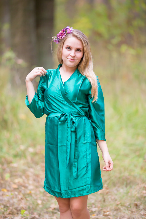 Plain Silk Robes for bridesmaids - Solid Teal Color | Getting Ready Bridal Robes