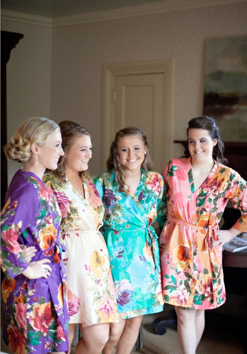 Mismatched Large Floral Blossom2 Robes in bright tones