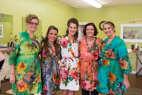 Mismatched Large Floral Blossom4 Robes in bright tones