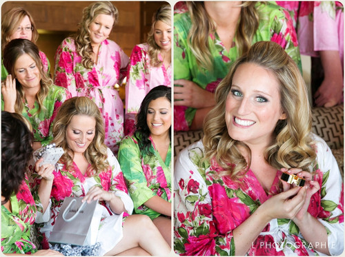 Mismatched Large Fuchsia Floral Blossom5 Robes in bright tones