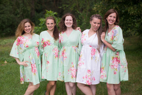 Cabbage Roses Button-Front Kaftan Dress for bridesmaids to get ready in