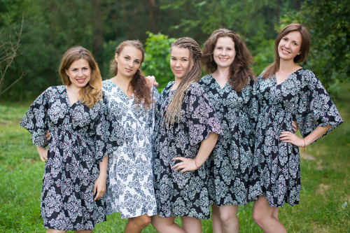 Damask Button-Front Kaftan Dress for bridesmaids to get ready in