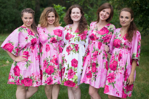 Large Fuchsia Floral Blossom Button-Front Kaftan Dress for bridesmaids to get ready in