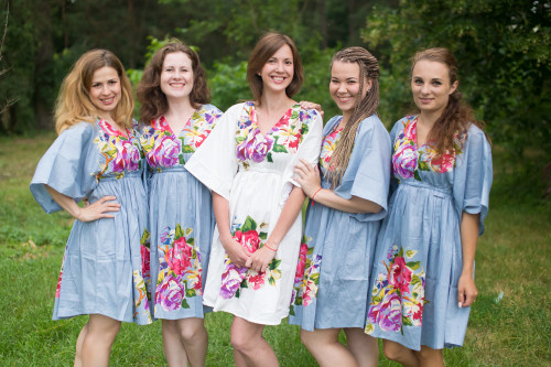 One Long Flower Button-Front Kaftan Dress for bridesmaids to get ready in