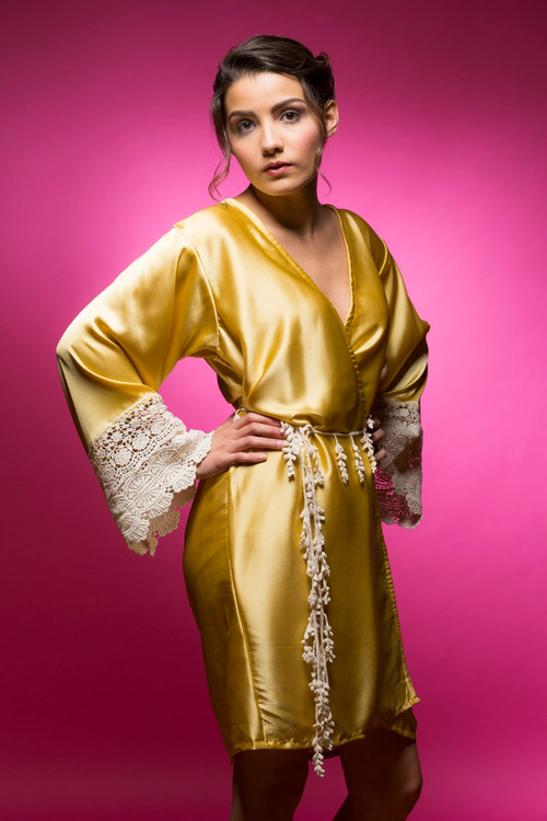 Gold Silk Lace Bridesmaids Robe