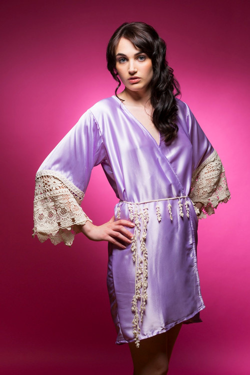 Lilac Silk Lace Bridesmaids Robe