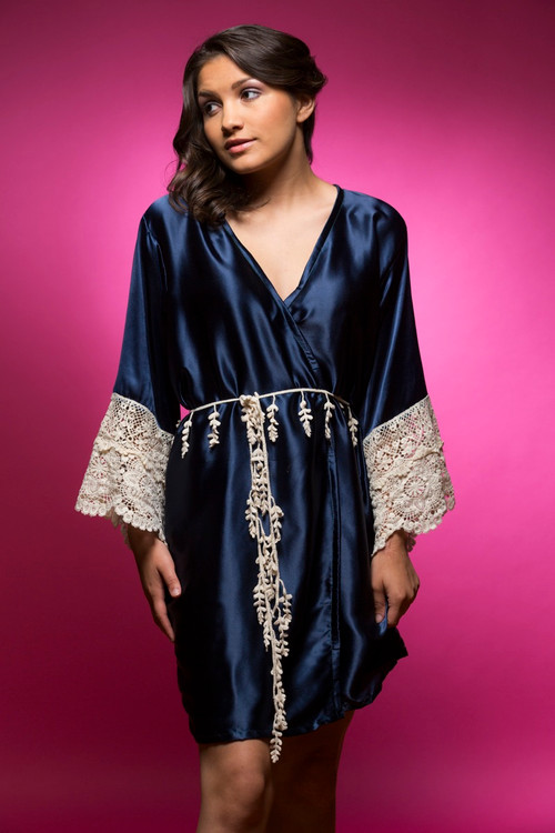 Navy Blue Silk Lace Bridesmaids Robe