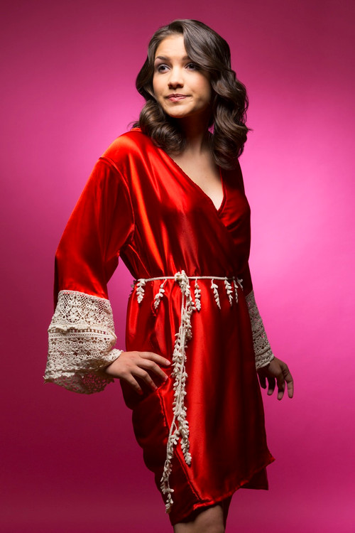 Ruby Red Silk Lace Bridesmaids Robe
