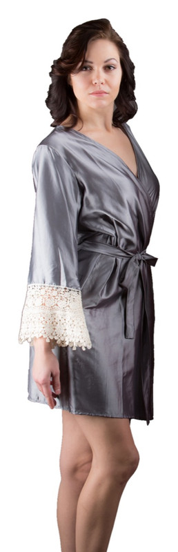 Gray Silk Lace Bridesmaids Robe