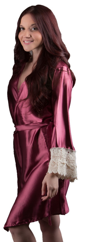 Raspberry Silk Lace Bridesmaids Robe