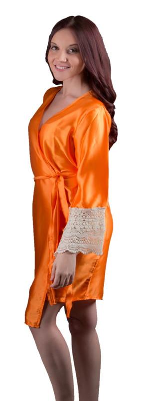 Tangerine Silk Lace Bridesmaids Robe