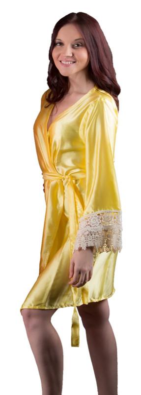 Yellow Silk Lace Bridesmaids Robe